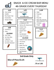 Snack Bar Menu